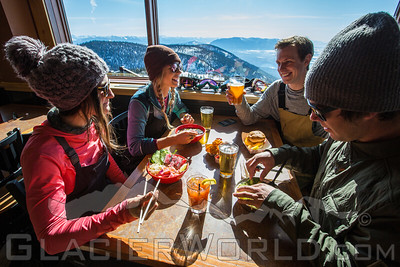 Lunch in the Summit House at Whitefish Mountain Resort.