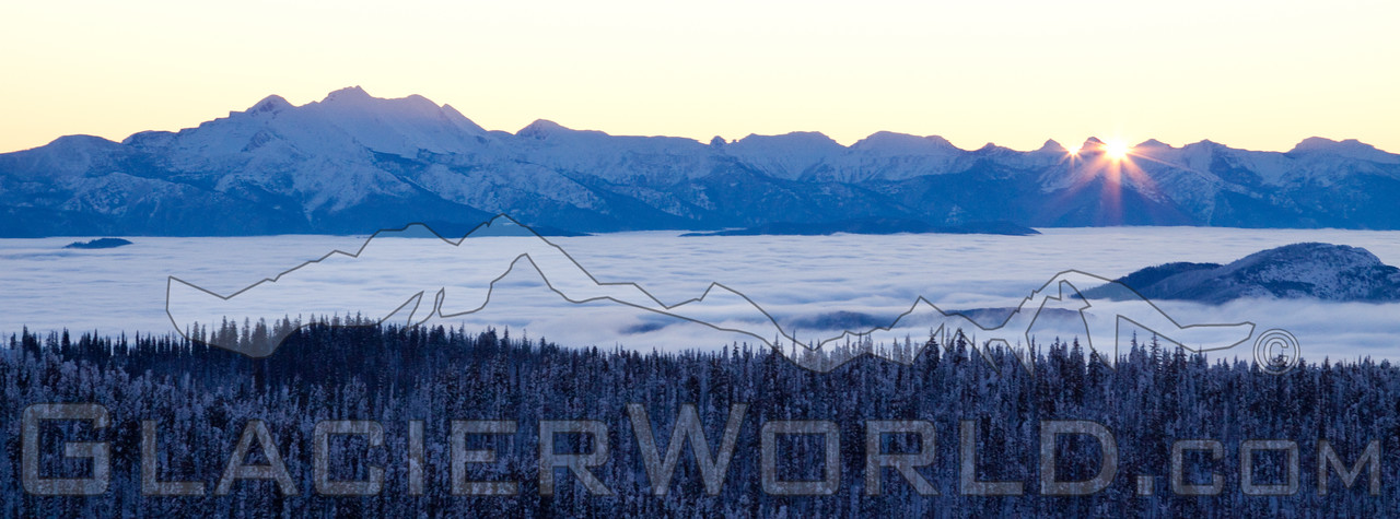 Double sunrise over the Bob Marshell Wilderness seen from Whitefish, MT.