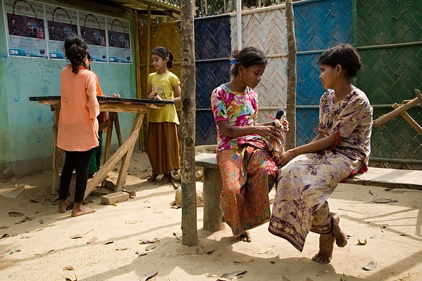 UNICEF-IcSP-SH-0247-0254 Burmapara social hub courtyard, where children are playing. EU IcSP Social Hub, supported by UNICEF, Implemented by BITA. Near Camp 15, Ukhia, Cox's Bazar, Bangladesh. Photo: b.a. sujaN / UNICEF / Map