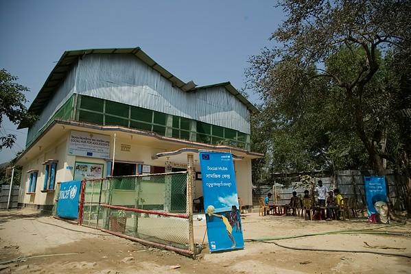 UNICEF-IcSP-SH-0388-0389  A large, beautiful space - Jadimura Social Hub for Adolescents. EU IcSP Social Hub, supported by UNICEF, Implemented by BITA. Near Camp 27,9 no word, Hnila, Teknaf, Cox's Bazar, Bangladesh. Photo: b.a. sujaN / UNICEF / Map