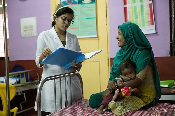 UNICEF-SAM-0737-0746  Name of the nurse: Snigdha Das Name of the child: Shipa Moni (22months), Mother: Ripa Moni (20yrs), Father: Shahidul Islam (day labor), Address: Eid-gah, CXB  Admission date: 9/1/2019  MUAC: 11.2cm, Weight: 5.7 Kg, Z-score: <-2SD  Medical complications: SAM with weakness.  Current situation: MUAC and weight is improving gradually. No sign of complications.   Cox's Bazar General Hospital. Photo: b.a.sujaN / UNICEF / Map