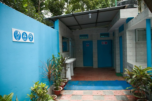 UNICEF-RR-0237 -0238  Inside view of the WASH block of the public toilet within the office of Upozila Nirbahi Officer, Ukhiya, Cox's Bazar.   Photo: b.a.sujaN / UNICEF / Map