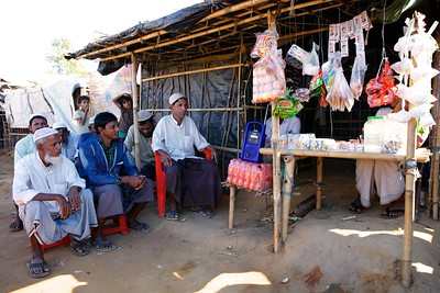 0372-0393 Senior citizens of Rohingya refugee community are listening to the latest news from Myanmar. This communications device has been provided by UNICEF to give the refugees a chance to know updates from their homeland.  Tajimerkhola, Burmapara. Cox's Bazar, Ukhiya, Photo: UNICEF / b.a. sujaN / Map