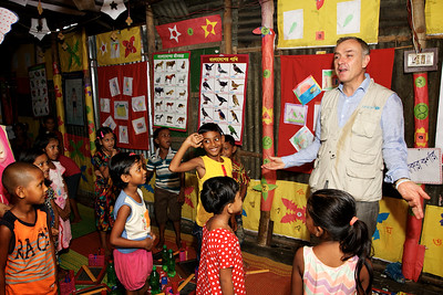 0001-0002 Mr. Philippe Cori, Deputy Regional Director, UNICEF-ROSA is participating with the children in the BRAC school which is run by Shishu Academy and Funded by UNICEF.  Credit: © UNICEF/BANA2016/Sujan