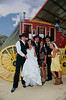 The wedding party getting ready for the stagecoach ride.