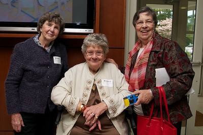 Jeanne Watson Clifford, Class of 1947, left, Regina Straim Venditto, Class of 1957, center.