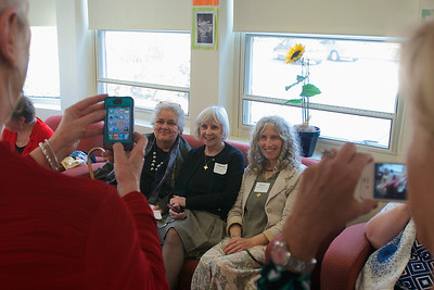 Hingham, MA - Susan Lang Abber, center, and Jean Azevedo Murray, Class of 1963. Photo by Ryan Hutton