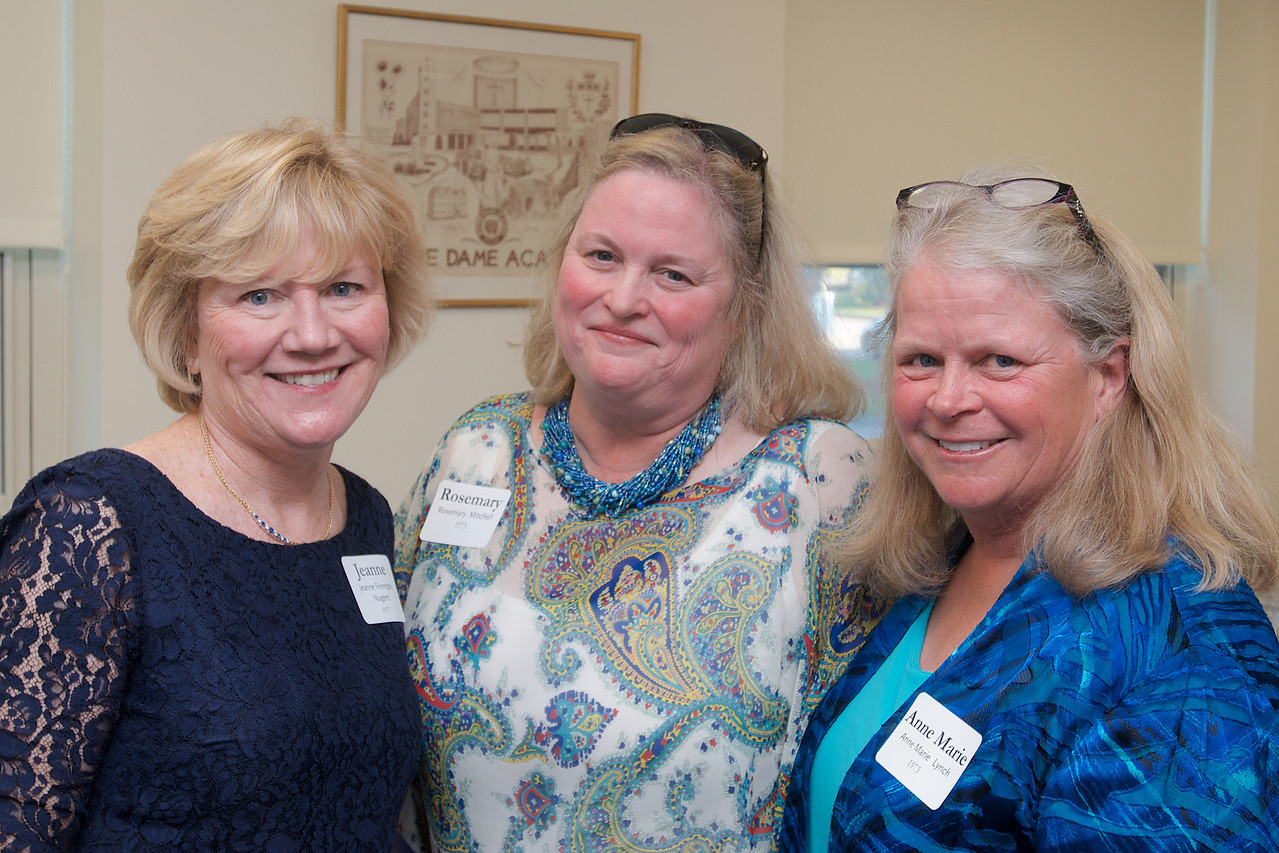 Hingham, MA - Jeanne Finnegan Nugent, left, Rosemary Mitchell, center, and Anna Marie Lynch, right, Class of 1973.  Photo by Ryan Hutton