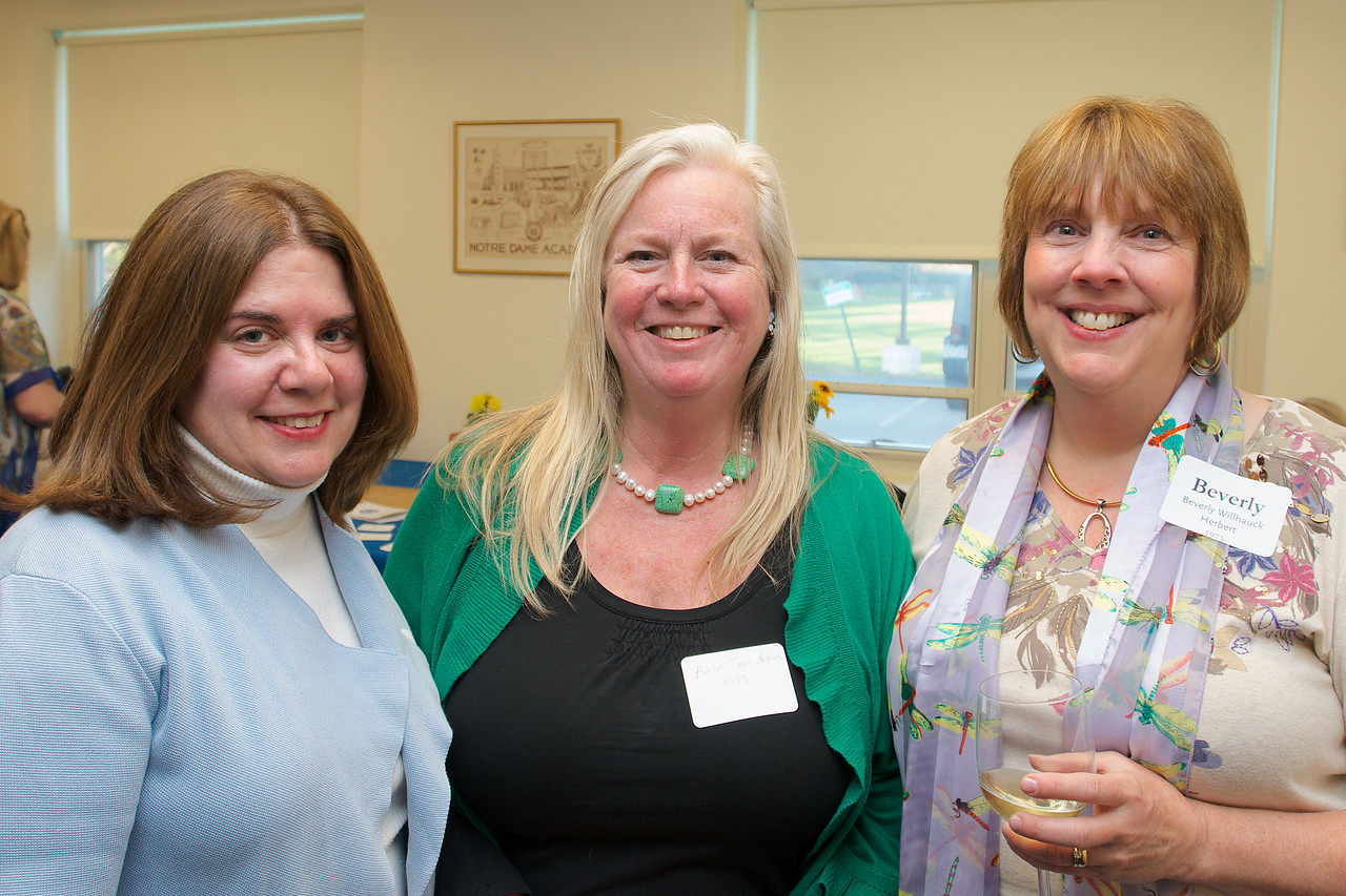 Hingham, MA - Karin Taros Annh, center, Beverly Willhauck Herbert, right, Class of 1973.  Photo by Ryan Hutton