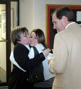 Pat kissing Karla Alvarez......Dr. Rob Henin looking on!