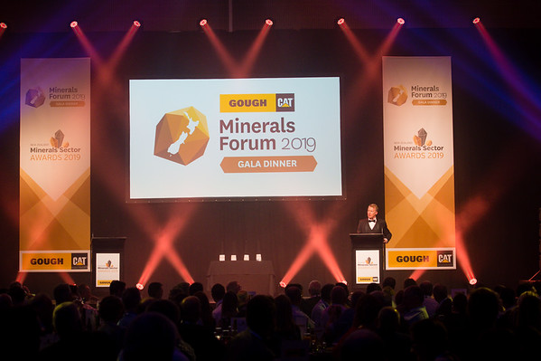 MC, Simon McKinney at the Gough Cat Gala Dinner & Mineral Sector Excellence Awards. New Zealand Minerals Forum 2019 at the Edgar Centre, Dunedin, NZ.  © Copyright Image:  Clare Toia-Bailey / New Zealand Minerals Forum 2019