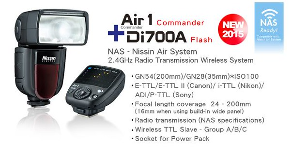 Nissin Di700 Speedlight (for Sony E mount) with Air 1 Commander