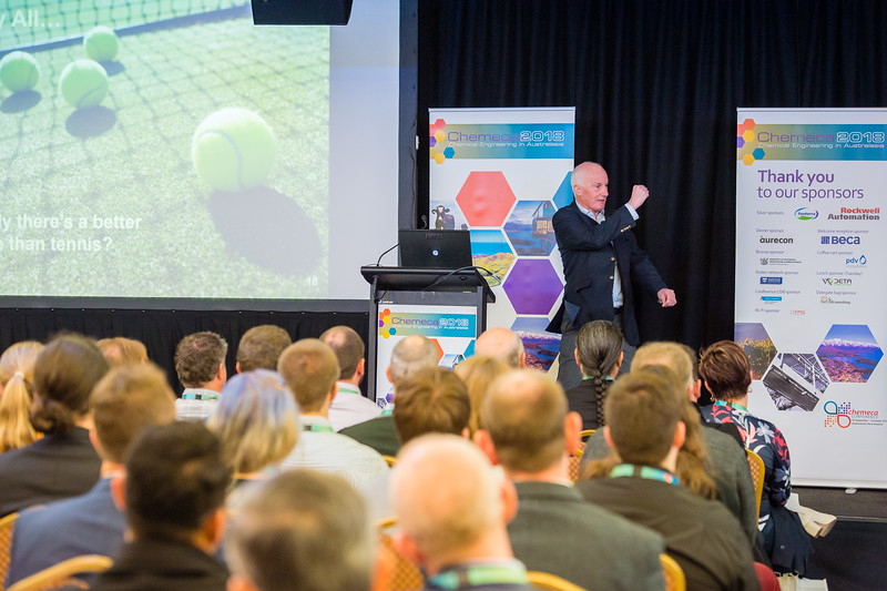 """Ken Rivers, President, IChemE presents The Global Perspective on Chemical Engineering to the Australasian Community during the Chemeca 2018 Conference at the Millennium Hotel in Queenstown, New Zealand., 1 October 2018  Copyright image Clare Toia-Bailey /  <a href=""""http://www.image-central.co.nz"""">http://www.image-central.co.nz</a>"""
