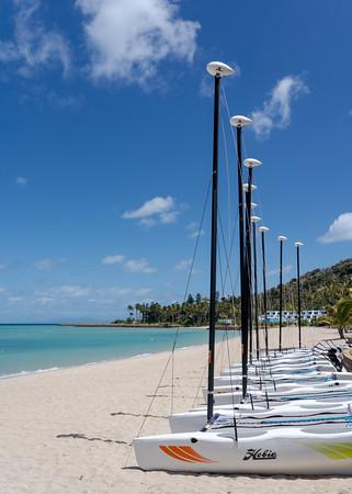 MMPI_20200909_MMCK0074_0007 - A line of seven catamarans on the beach.