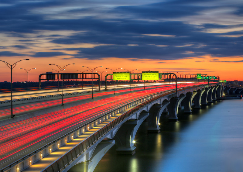 Colorful Twilight. Woodrow Wilson bridge over the Potomac River. April, 2012.
