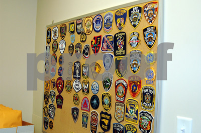 He collects patches from different police departments around the United States...