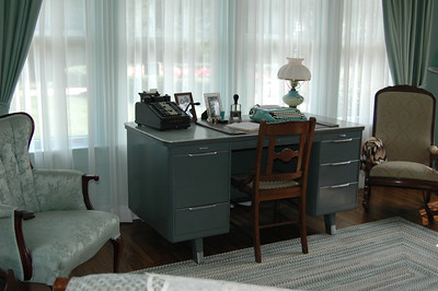 The office at the home!.  Check out the adding maching and typewritter....old school!!!