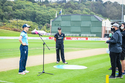 Captain Heather Knight (ENG) with social distancing for her interview. New Zealand White Ferns v England International One Day cricket. University Oval, Dunedin. New Zealand. Sunday 28 February 2021. © Copyright Photo:  Clare Toia-Bailey / www.photosport.nz