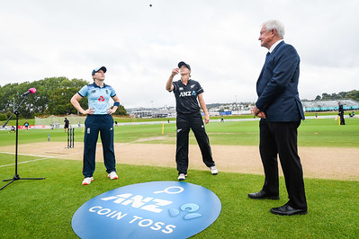 ANZ coin toss with L-R Captains Heather Knight (ENG) and Sophie Devine (NZL) with the match referee Richard Hayward. New Zealand White Ferns v England International One Day cricket. University Oval, Dunedin. New Zealand. Sunday 28 February 2021. © Copyright Photo:  Clare Toia-Bailey / www.photosport.nz