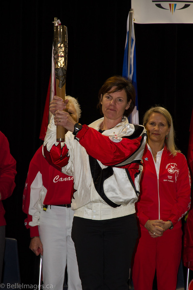 Paula Schnurr holding the Queen's Baton