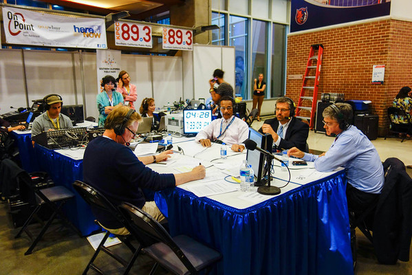 WBUR doing interviews in the Convention perimeter