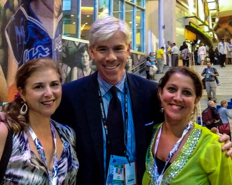 We lent David Gregory an umbrella in exchange for a few photos