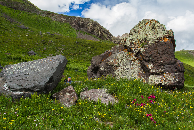"""I Wonder if They'll Find Me Here"", Doug Beezley going underground near Black Bear Pass Road, San Juan Mountains - Colorado Wildflowers - Nancy Varga - July 2015"