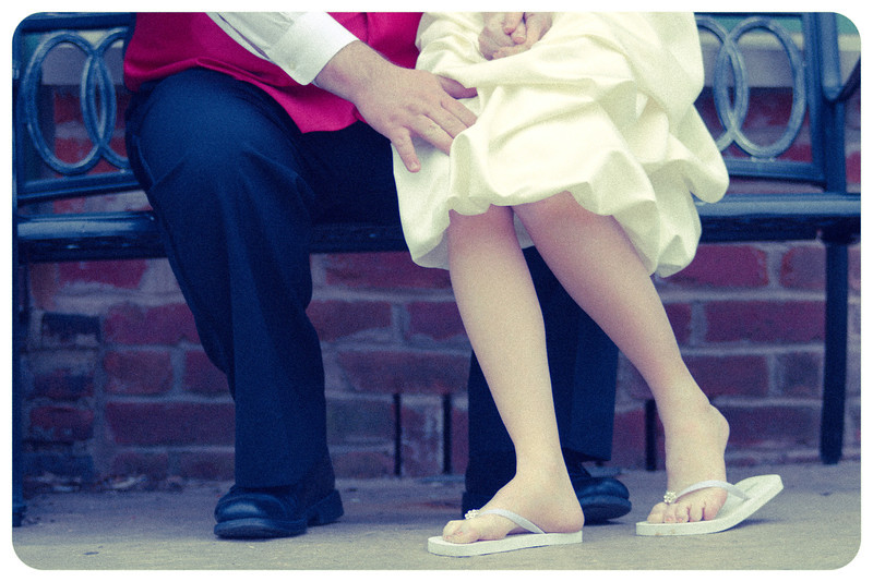 Bride And Groom Sitting On Bench<br /> Chicago Wedding Photographer Bride and Groom On Bench