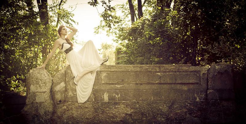 Senior Portrait Girl On Ledge<br /> Creative Location Senior Girl Posing On Ledge In White Prom Gown Joliet Lockport Naperville IL