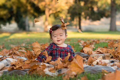 Maiya and falling leaves