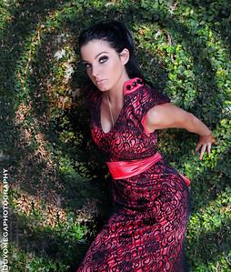 Sara modelling for Martin Zepeda Clothing Designs