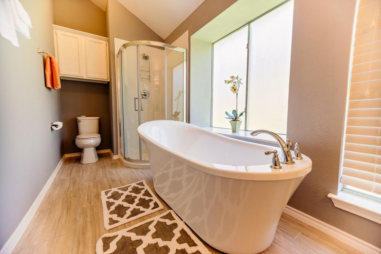 Master bathroom, complete wilt an old school bath tub and walk=in shower.