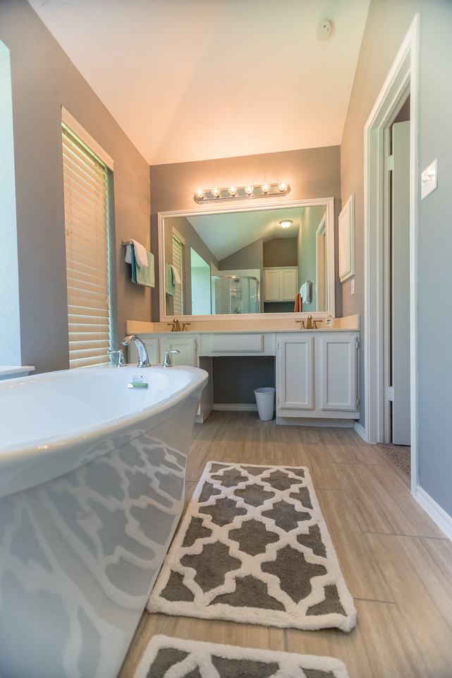 Master bath with double sink.