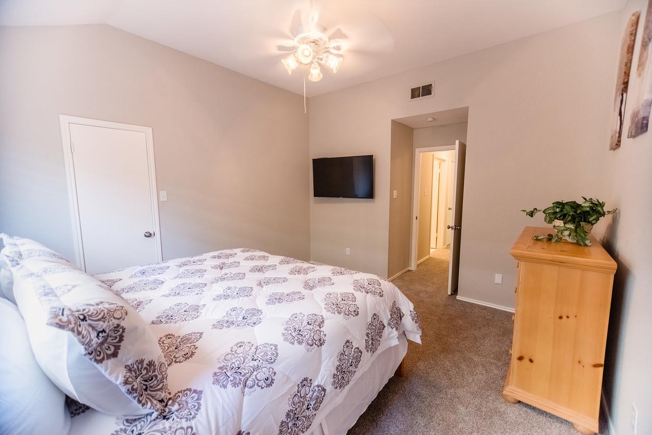 Master bedroom with Smart HD TV.
