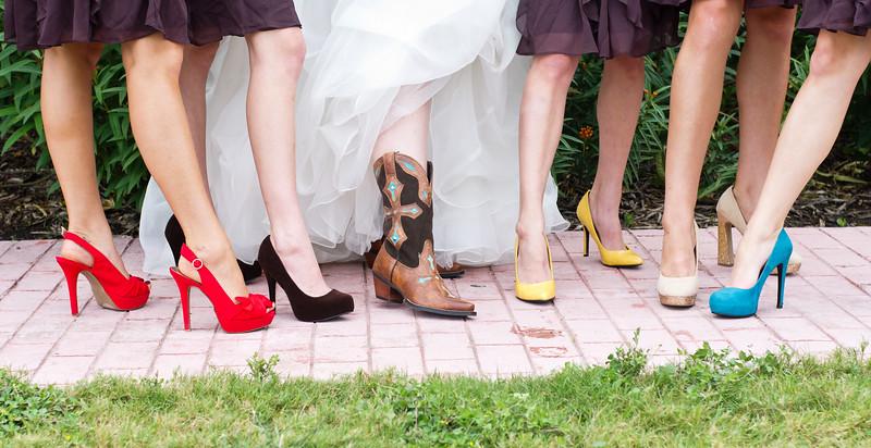 Colorful bridesmaids shoes