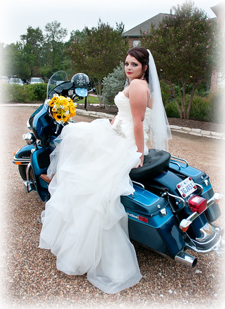 Bride on motorcycle