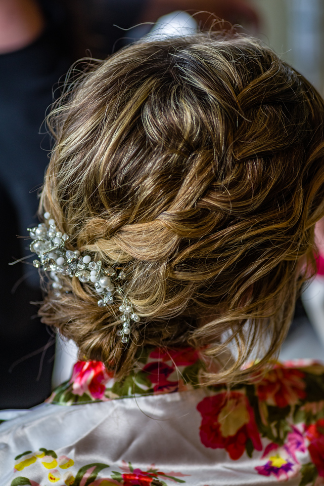 The bride's hair style from the rear.