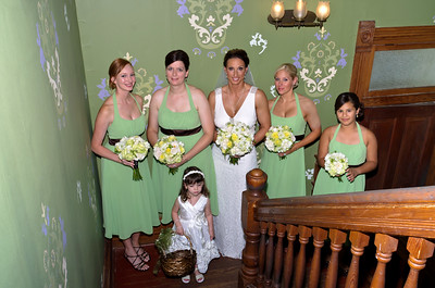 Bride with bridesmaids, Michelle & Mike at Barr Mansion.