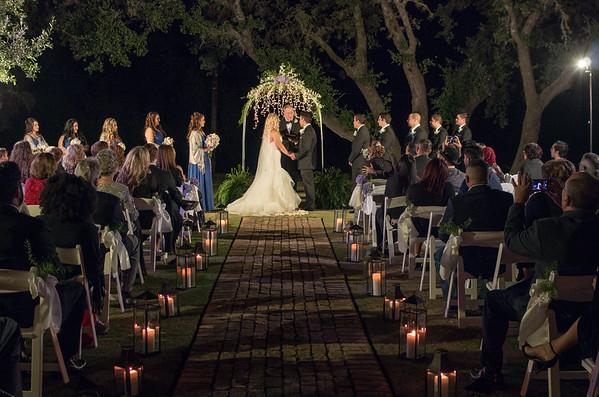 Rachel & Josh's night wedding outside.