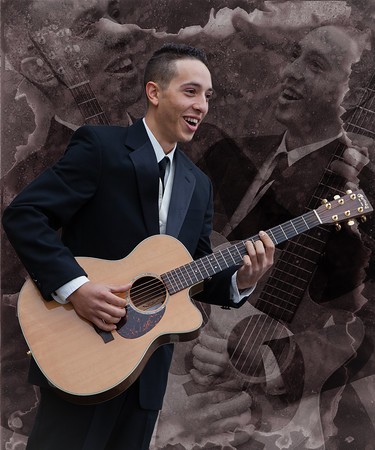"""Echo Collage"", groom with guitar is echoed twice in the background."