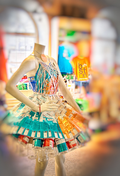 Dress made of Vitamin Water bottles, Boston, MA
