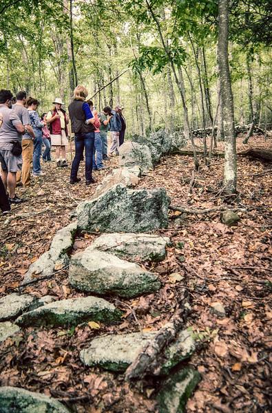 Row of standing stones.