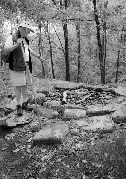 Our tour guide from Denison Pequotsepos at the two stone circles.