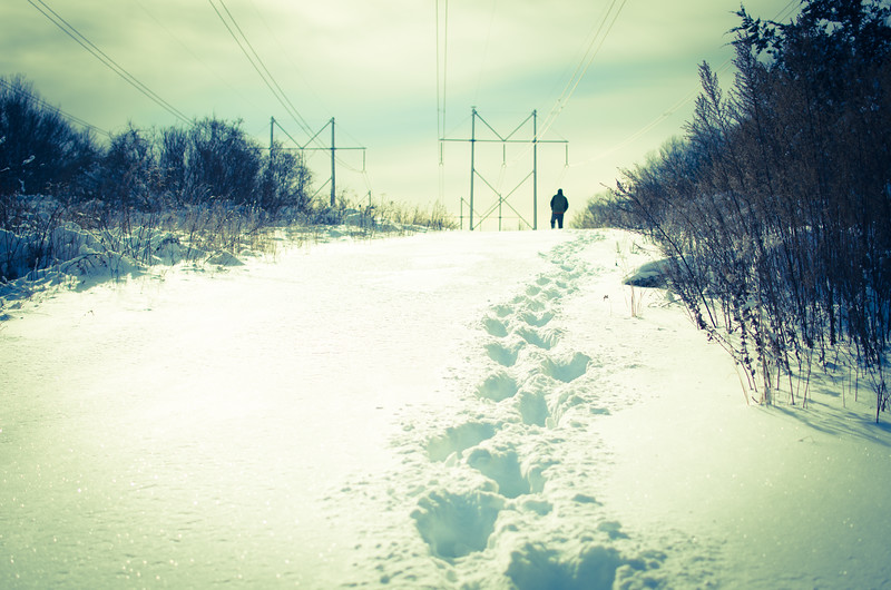 Power line trail in the snow - Southeastern, CT
