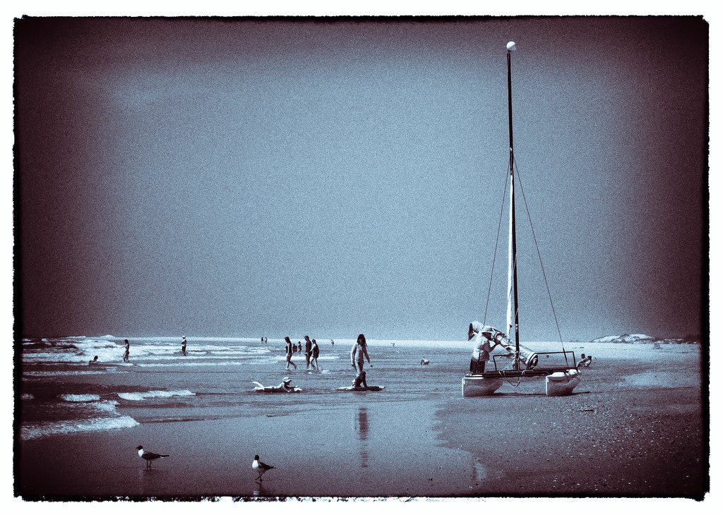 Catamaran Sailboat at Topsail Beach, NC