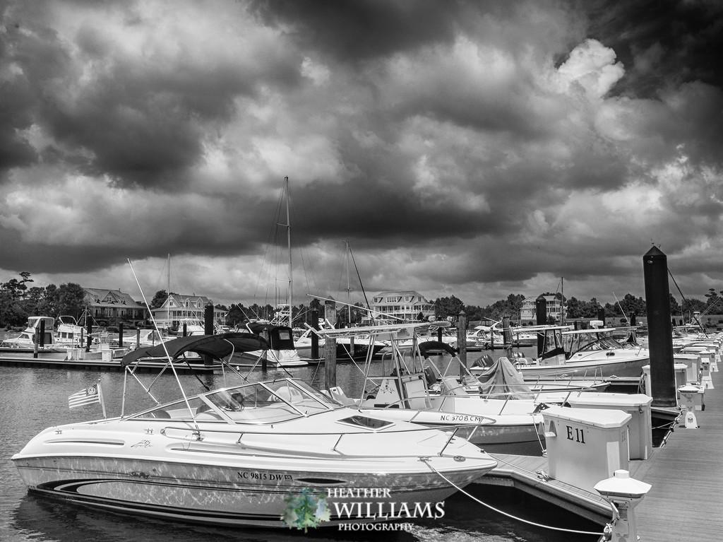 Dramatic Clouds at a Marina - NC