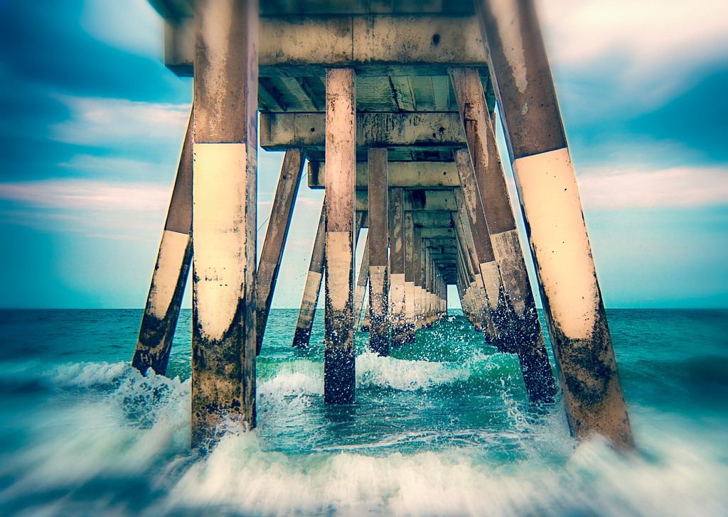 Waves Crashing Under Johnnie Mercer's Pier - Wrightsville Beach, NC