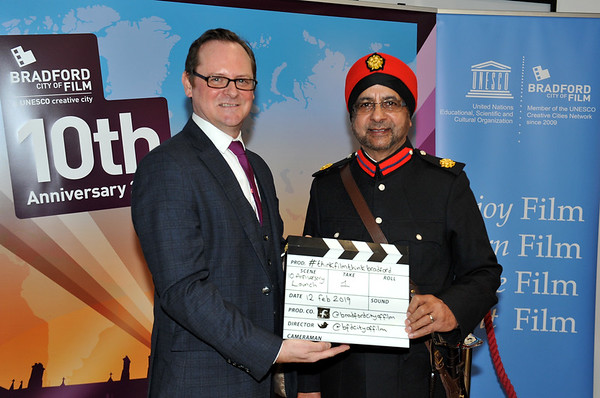 Bradford UNESCO City of Film 10th anniversary reception at the National Science and Media Museum. 12.02.19<br /> David Wilson, Director of Bradford UNESCO City of Film and Balbir Panesar, DL