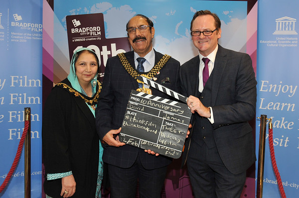 Bradford UNESCO City of Film 10th anniversary reception at the National Science and Media Museum. 12.02.19<br /> Lord Mayor of Bradford Cllr Zafar Ali and David Wilson, Director of Bradford UNESCO City of Film