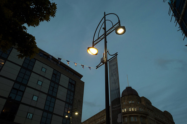 Urbis lighting, Bradford.<br /> Bridge Street<br /> 29.06.16